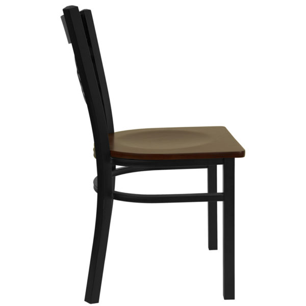 Lowest Price HERCULES Series Black ''X'' Back Metal Restaurant Chair - Mahogany Wood Seat