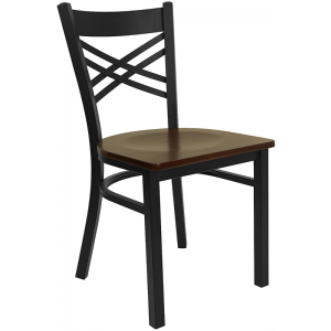Wholesale HERCULES Series Black ''X'' Back Metal Restaurant Chair - Mahogany Wood Seat