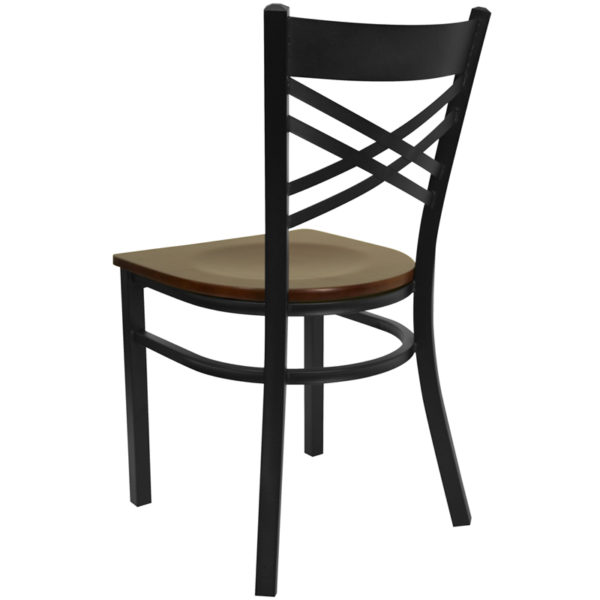 Metal Dining Chair Black X Chair-Mah Seat