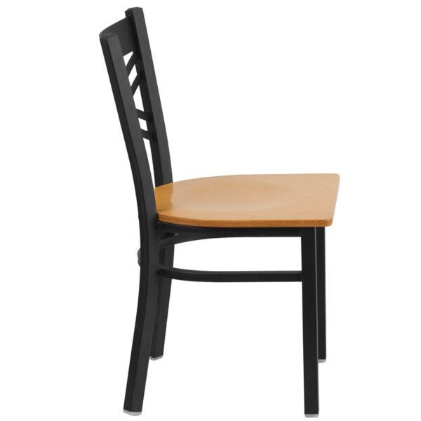 Lowest Price HERCULES Series Black ''X'' Back Metal Restaurant Chair - Natural Wood Seat