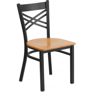 Wholesale HERCULES Series Black ''X'' Back Metal Restaurant Chair - Natural Wood Seat