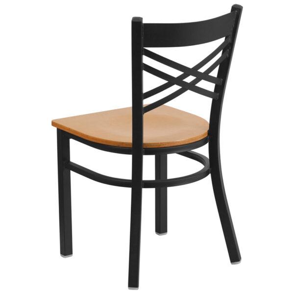 Metal Dining Chair Black X Chair-Nat Seat