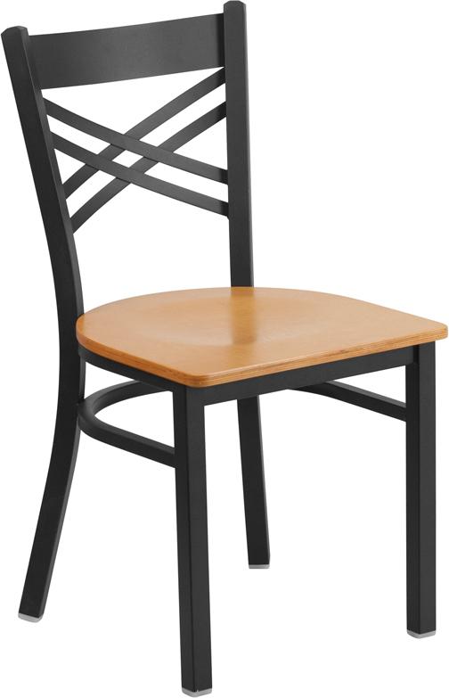 Wholesale HERCULES Series Black ''X'' Back Metal Restaurant Chair - Natural Wood Seat