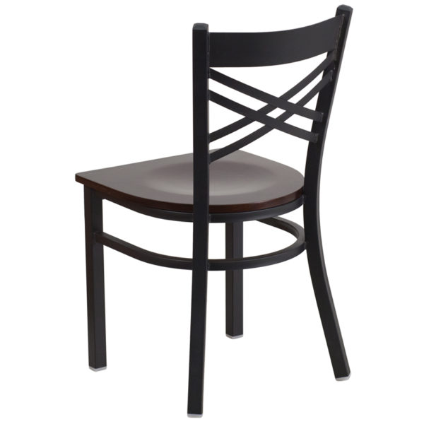 Metal Dining Chair Black X Chair-Wal Seat