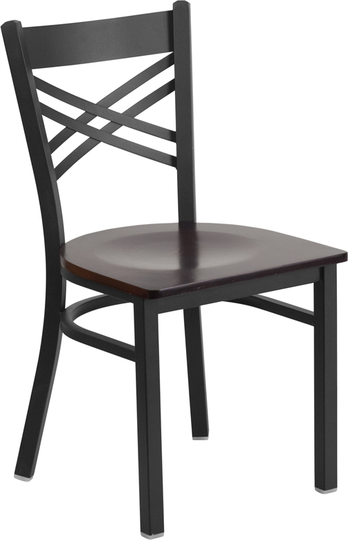 Wholesale HERCULES Series Black ''X'' Back Metal Restaurant Chair - Walnut Wood Seat