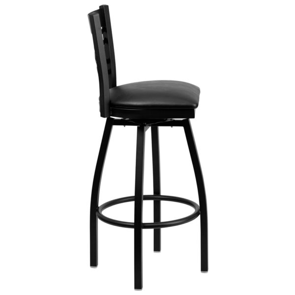 Lowest Price HERCULES Series Black ''X'' Back Swivel Metal Barstool - Black Vinyl Seat
