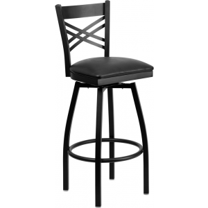 Wholesale HERCULES Series Black ''X'' Back Swivel Metal Barstool - Black Vinyl Seat