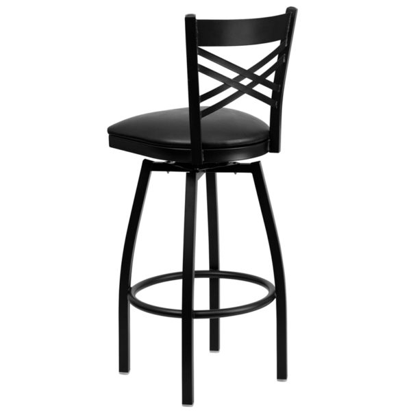 Metal Dining Bar Stool Black X Swivel Stool-Blk Seat