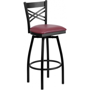 Wholesale HERCULES Series Black ''X'' Back Swivel Metal Barstool - Burgundy Vinyl Seat
