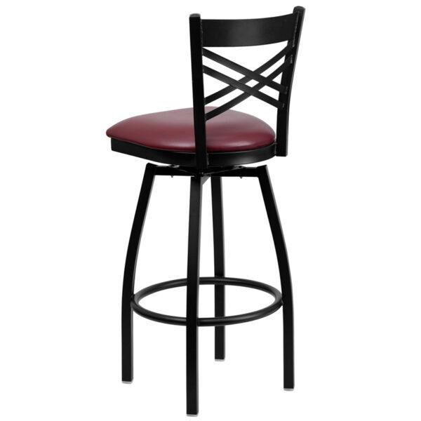Metal Dining Bar Stool Black X Swivel Stool-Burg Seat