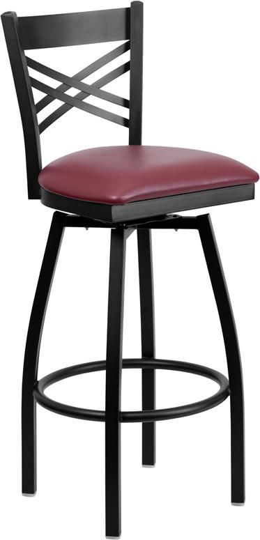 Wholesale HERCULES Series Black ''X'' Back Swivel Metal Barstool - Burgundy Vinyl Seat