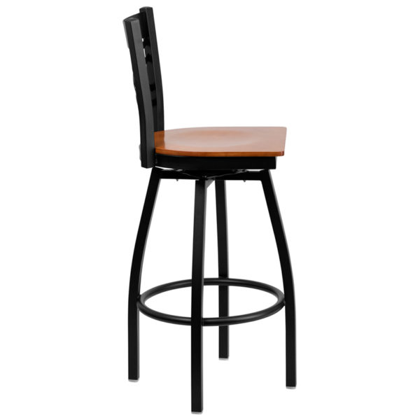 Lowest Price HERCULES Series Black ''X'' Back Swivel Metal Barstool - Cherry Wood Seat