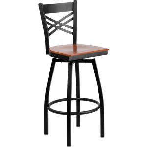 Wholesale HERCULES Series Black ''X'' Back Swivel Metal Barstool - Cherry Wood Seat