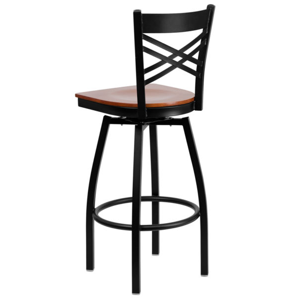 Metal Dining Bar Stool Black X Swivel Stool-Chy Seat