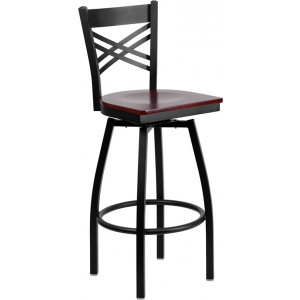 Wholesale HERCULES Series Black ''X'' Back Swivel Metal Barstool - Mahogany Wood Seat