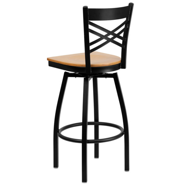 Metal Dining Bar Stool Black X Swivel Stool-Nat Seat