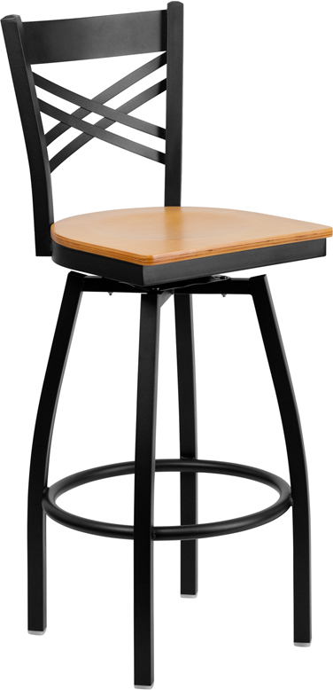Wholesale HERCULES Series Black ''X'' Back Swivel Metal Barstool - Natural Wood Seat