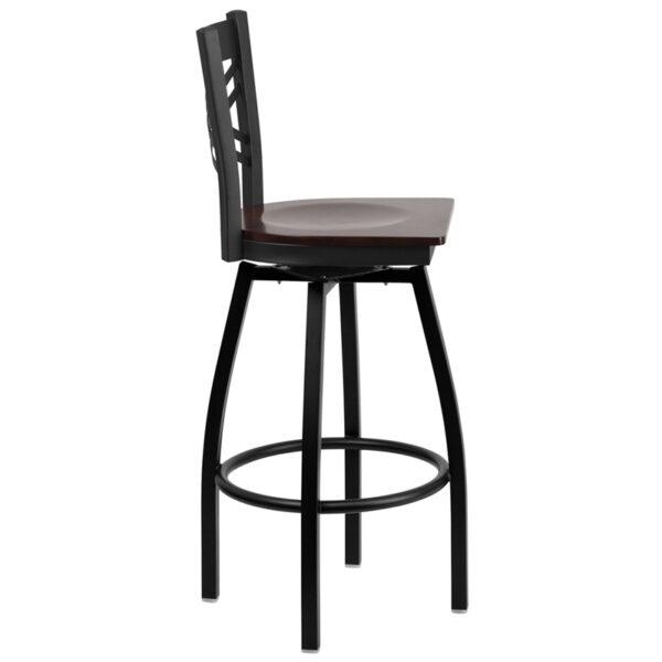Lowest Price HERCULES Series Black ''X'' Back Swivel Metal Barstool - Walnut Wood Seat