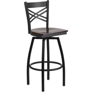 Wholesale HERCULES Series Black ''X'' Back Swivel Metal Barstool - Walnut Wood Seat