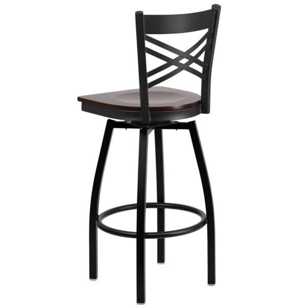 Metal Dining Bar Stool Black X Swivel Stool-Wal Seat
