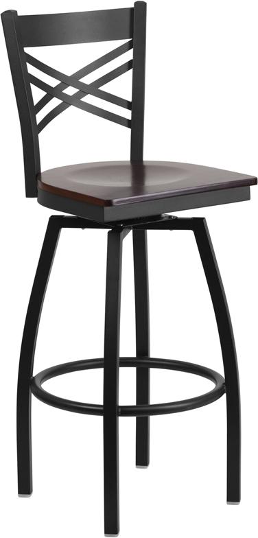 Wholesale HERCULES Series Black ''X'' Back Swivel Metal Barstool - Walnut Wood Seat