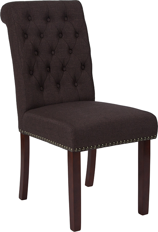 Wholesale HERCULES Series Brown Fabric Parsons Chair with Rolled Back