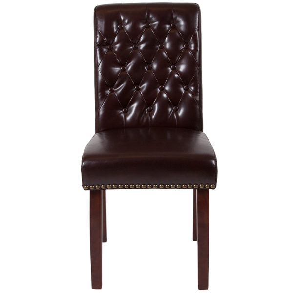 Mid-Century Style Brown Leather Parsons Chair