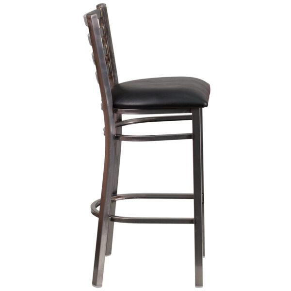 Lowest Price HERCULES Series Clear Coated Ladder Back Metal Restaurant Barstool - Black Vinyl Seat