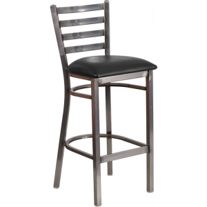 Wholesale HERCULES Series Clear Coated Ladder Back Metal Restaurant Barstool - Black Vinyl Seat