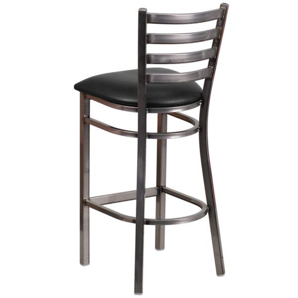 Metal Dining Bar Stool Clear Ladder Stool-Black Seat