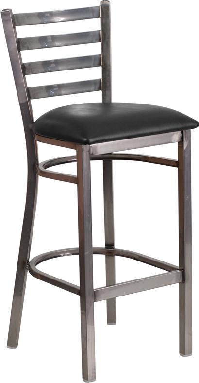 Wholesale HERCULES Series Clear Coated Ladder Back Metal Restaurant Barstool - Black Vinyl Seat
