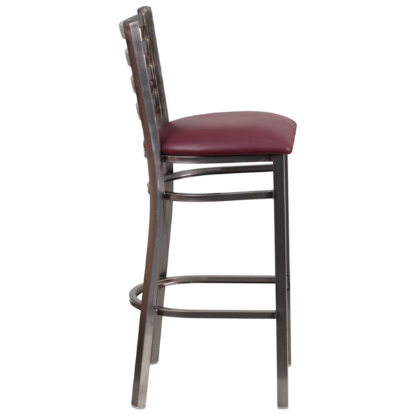 Lowest Price HERCULES Series Clear Coated Ladder Back Metal Restaurant Barstool - Burgundy Vinyl Seat