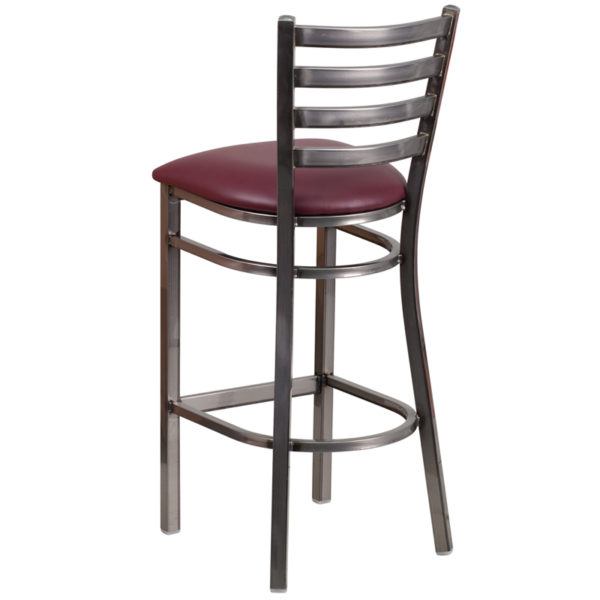 Metal Dining Bar Stool Clear Ladder Stool-Burg Seat