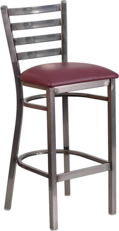 Wholesale HERCULES Series Clear Coated Ladder Back Metal Restaurant Barstool - Burgundy Vinyl Seat