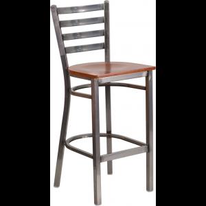 Wholesale HERCULES Series Clear Coated Ladder Back Metal Restaurant Barstool - Cherry Wood Seat