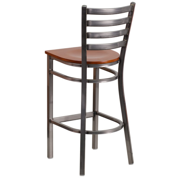 Metal Dining Bar Stool Clear Ladder Stool-Cherry Seat