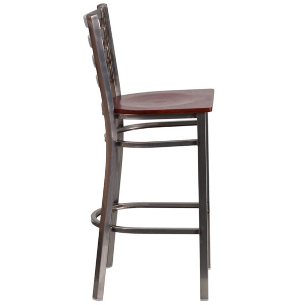 Lowest Price HERCULES Series Clear Coated Ladder Back Metal Restaurant Barstool - Mahogany Wood Seat