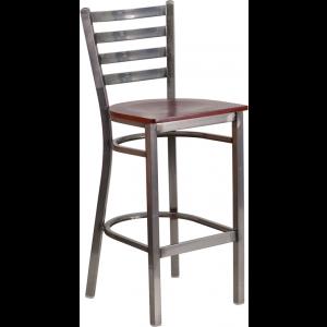 Wholesale HERCULES Series Clear Coated Ladder Back Metal Restaurant Barstool - Mahogany Wood Seat