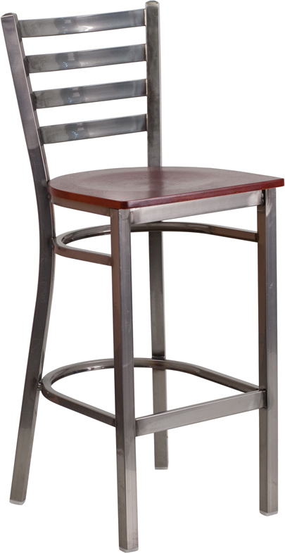 Wholesale HERCULES Series Clear Coated Ladder Back Metal Restaurant Barstool - Mahogany Wood Seat