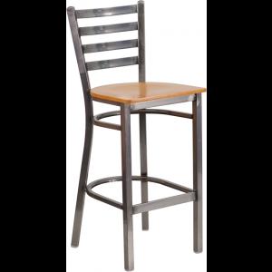 Wholesale HERCULES Series Clear Coated Ladder Back Metal Restaurant Barstool - Natural Wood Seat