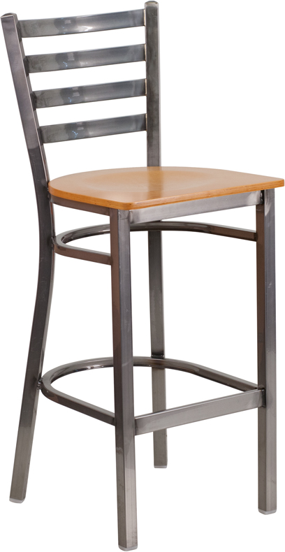 Wholesale HERCULES Series Clear Coated Ladder Back Metal Restaurant Barstool - Natural Wood Seat