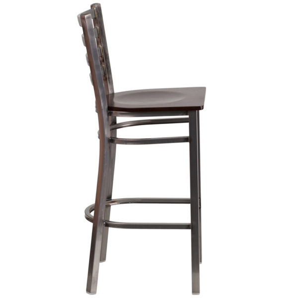 Lowest Price HERCULES Series Clear Coated Ladder Back Metal Restaurant Barstool - Walnut Wood Seat