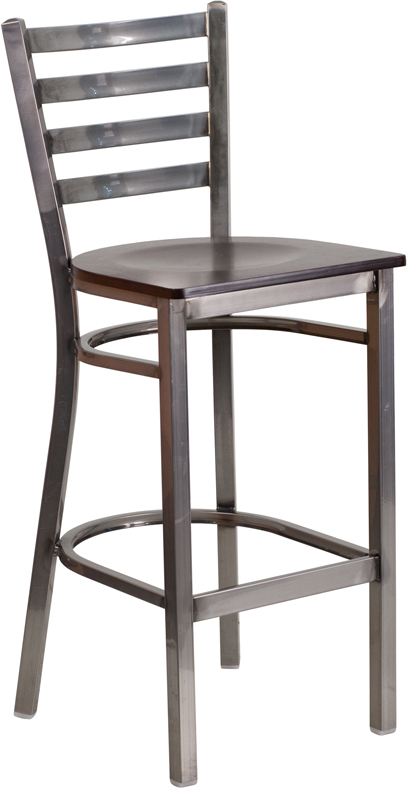 Wholesale HERCULES Series Clear Coated Ladder Back Metal Restaurant Barstool - Walnut Wood Seat