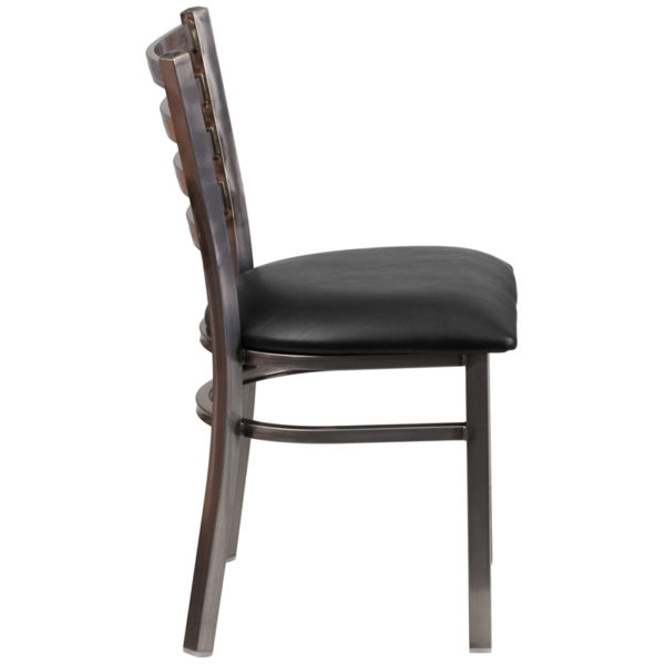 Lowest Price HERCULES Series Clear Coated Ladder Back Metal Restaurant Chair - Black Vinyl Seat