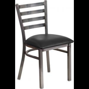 Wholesale HERCULES Series Clear Coated Ladder Back Metal Restaurant Chair - Black Vinyl Seat