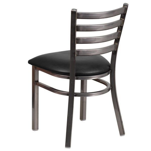 Metal Dining Chair Clear Ladder Chair-Black Seat