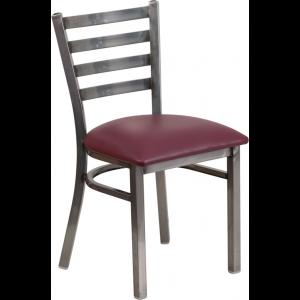 Wholesale HERCULES Series Clear Coated Ladder Back Metal Restaurant Chair - Burgundy Vinyl Seat
