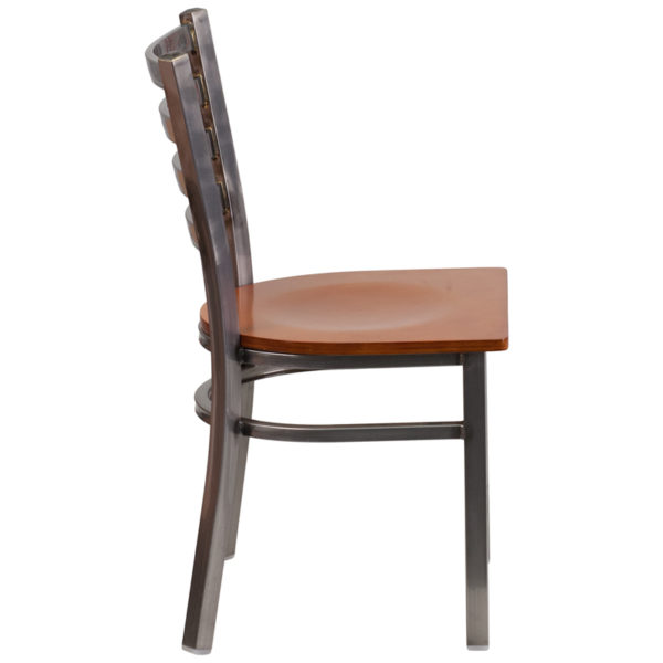 Lowest Price HERCULES Series Clear Coated Ladder Back Metal Restaurant Chair - Cherry Wood Seat