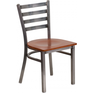 Wholesale HERCULES Series Clear Coated Ladder Back Metal Restaurant Chair - Cherry Wood Seat
