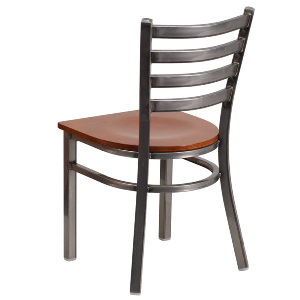 Metal Dining Chair Clear Ladder Chair-Cherry Seat